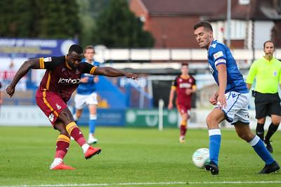 Hope Akpan has a shot in City's Carabao Cup defeat at Macclesfield last season
