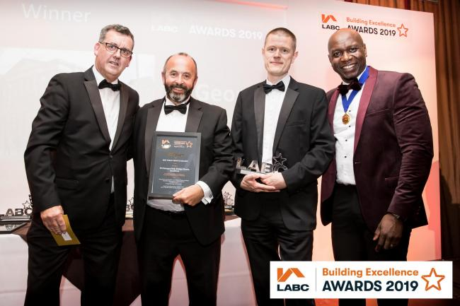 A representative of Keystone Group, award sponsor , with Nick Cragg from Cragg Management Services Ltd, Craig Blackwell from Bradford Council, Anthony Oloyede Vice President of LABC. Picture: Nick Craig Picture: Nick Craig