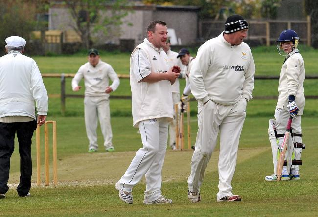 Gareth Lee, centre, took the first hat-trick of his career for Yeadon against Spen Vic
