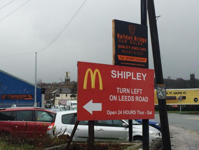 The sign on Otley Road before it was removed