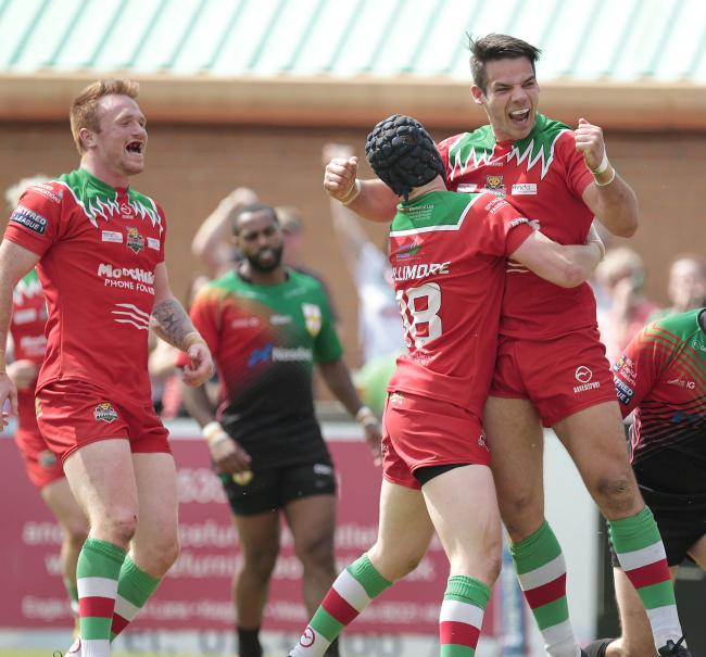 Jason Muranka, right, celebrated his birthday and being awarded a new contract with two tries for Keighley in their win at Coventry