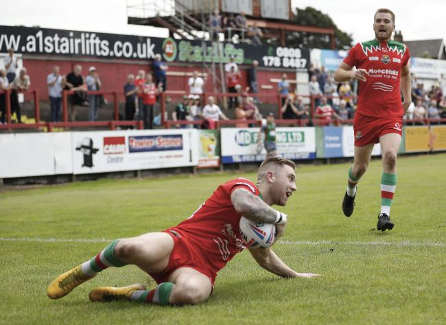 Jordan Aitchison, who scored on his Cougars home debut against London Skolars last year, is targeting more tries for the club in 2020, despite his diagnosis Picture: Charlie Perry