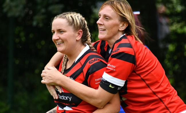 Emma Templeton (left) celebrates a try for Keighley Albion Ladies during her sparkling 2019 season Picture: Richard Leach