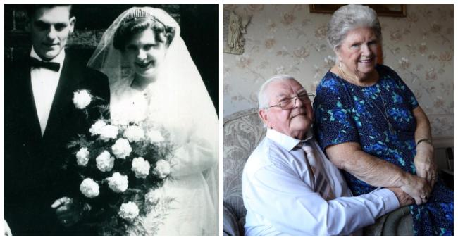 Maurice and Avril on their wedding day and at home on their 60th anniversary