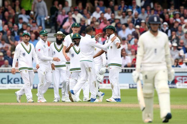 Keshav Maharaj celebrates with his South Africa team-mates after taking the wicket of England's Liam Dawson back in 2017. Maharaj has joined Yorkshire on a short-term deal