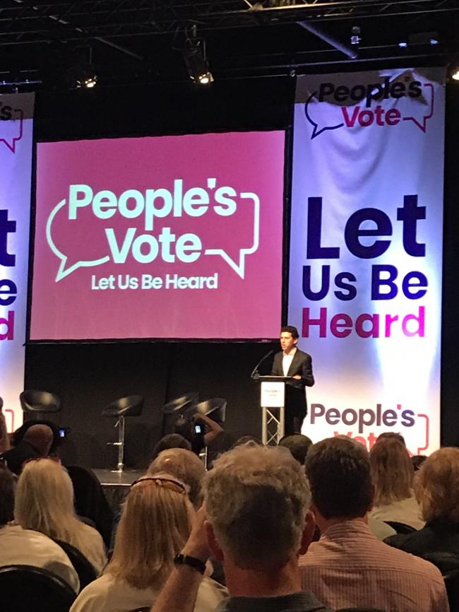 MP Alex Sobel spearking at the People's Vote rally in Leeds