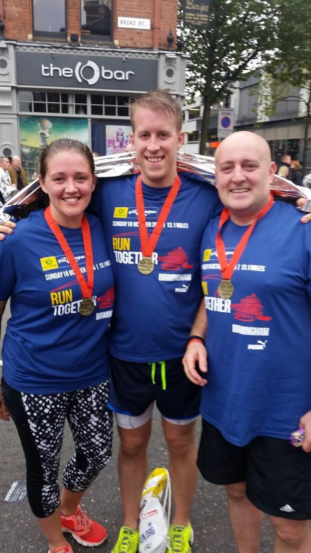 Bradford Telegraph and Argus: Stacey Fox and husband Adam at the Birmingham half marathon in October 2015