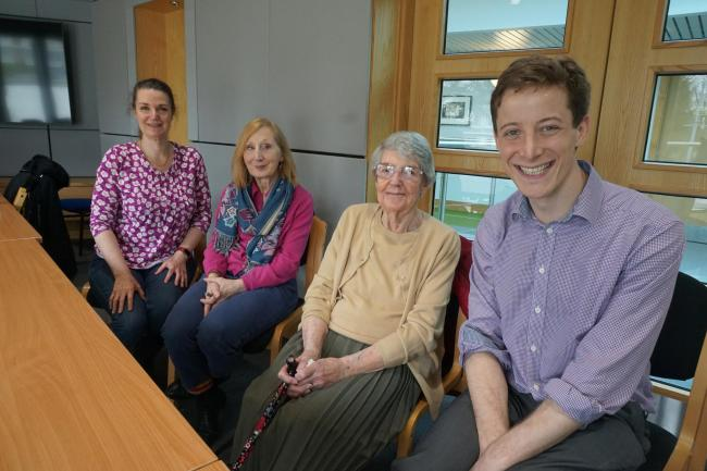 Dr Oly Todd, right, with some fellow researchers and a patient who took part in his study on how blood pressure treatment affects the elderly