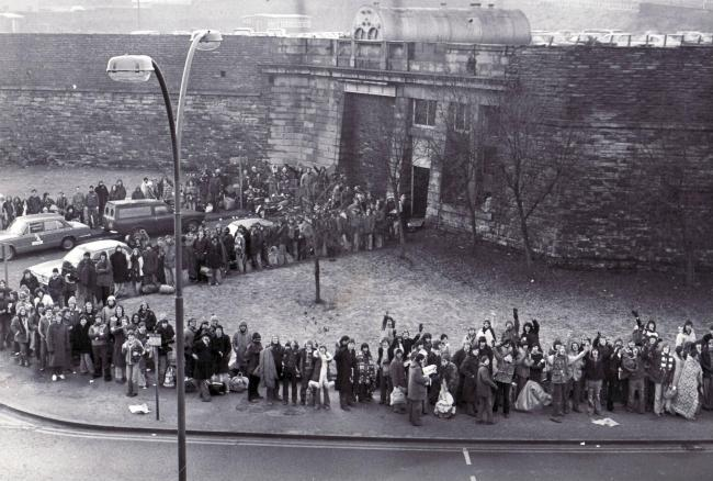 A long line of fans queueing for tickets to see Genesis at St George's Hall in 1980