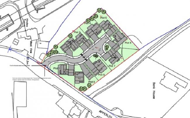 The proposed housing site on Apperley Lane - the application has been refused by Bradford Council