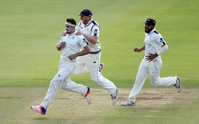 Jack Brooks celebrates taking a wicket during his Yorkshire days