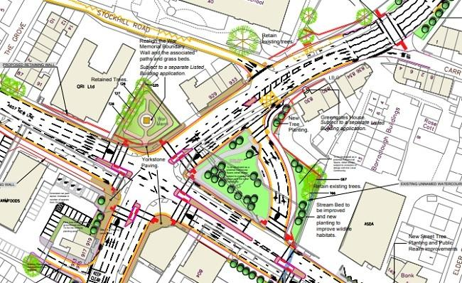The proposed junction works at Harrogate Road/New Line. Work is due to start in February and last up to 15 months