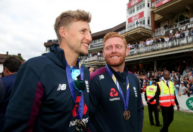 Yorkshire's Joe Root and Jonny Bairstow during the World Cup celebrations at the Kia Oval    Picture: Steven Paston/PA Wire