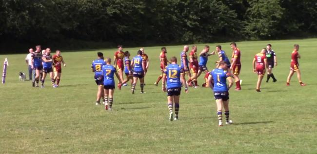 Bradford Dudley Hill celebrate a try away at Wigan St Judes. Picture: Down at The Meadow with Wigan St Judes/YouTube