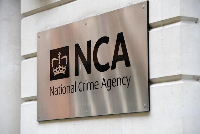 A view of the National Crime Agency (NCA) sign in Westminster, London..
