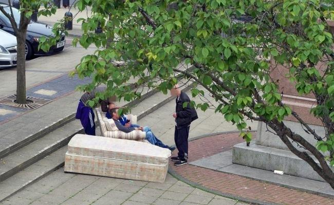 Street drinkers in Oastler Square several years ago