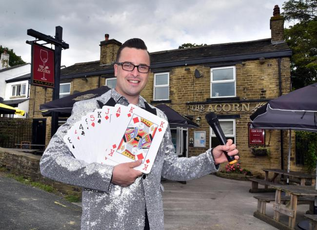 Adam Reay Landlord of the Acorn pub Eldwick in his host with the most jacket as he's a huge pub quiz fan.