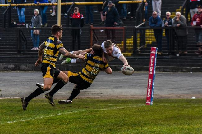 Ethan Ryan dives to score a stunning try against York in 2019 Picture: Tom Pearson