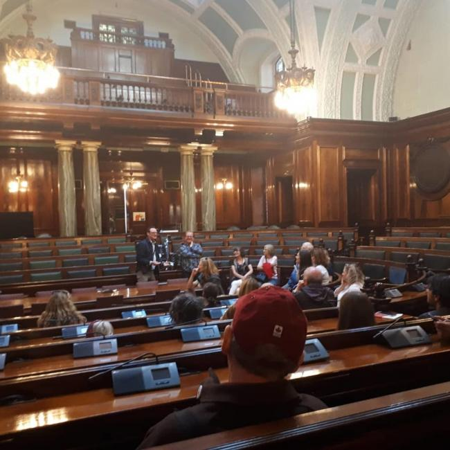 David Wilson with poets on the film heritage tour of City Hall which inspired Reel Bradford