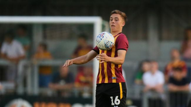 Reece Staunton playing for the Bantams against Avenue in a pre-season friendly