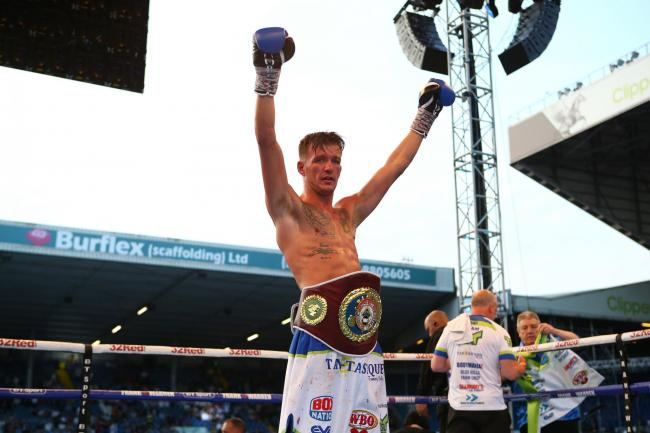 Darren Tetley celebrates beating Mason Cartwright during their WBO European Welterweight bout at Elland Road, Leeds