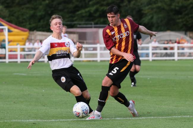 Alex Hurst in action during the pre-season friendly against Bradford City. Picture: John Rhodes