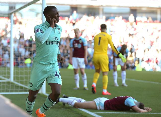 Arsenal's Eddie Nketiah - pictured celebrating his goal against Burnley last season - is poised to join Leeds on loan   Picture: Nigel French/PA Wire