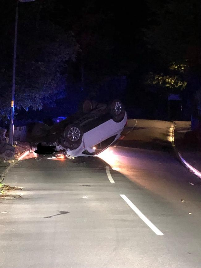 The car on its roof (photo North Yorkshire Police)