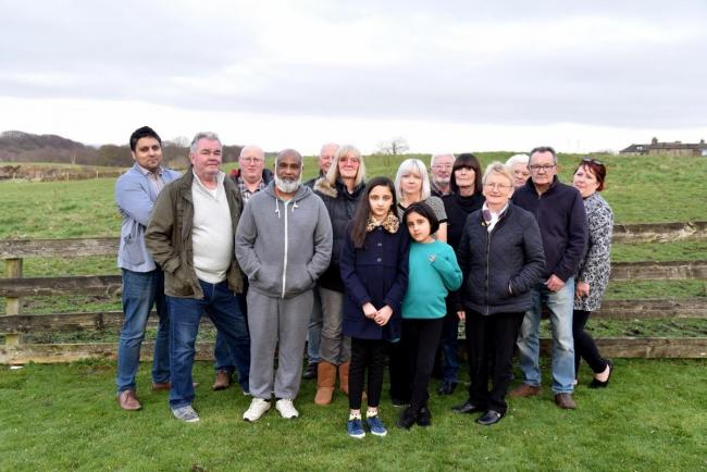 Objectors at Ryedale Way in Allerton, where the new homes will be built