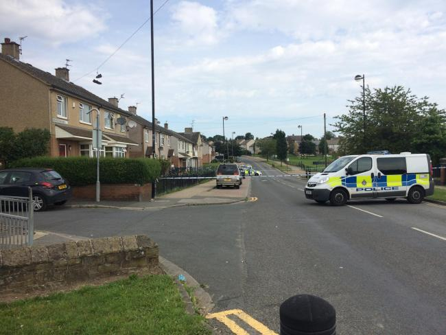 The police cordon in place following the suspected shooting in Broadstone Way on August 3