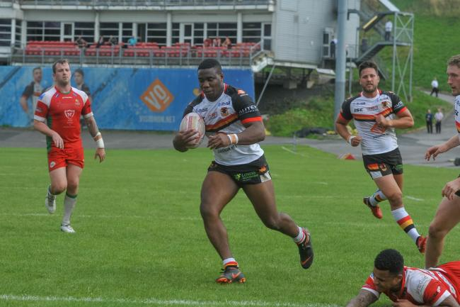 Tuoyo Egodo, pictured on his way to a try hat-trick for Bulls last season, is rejoining London