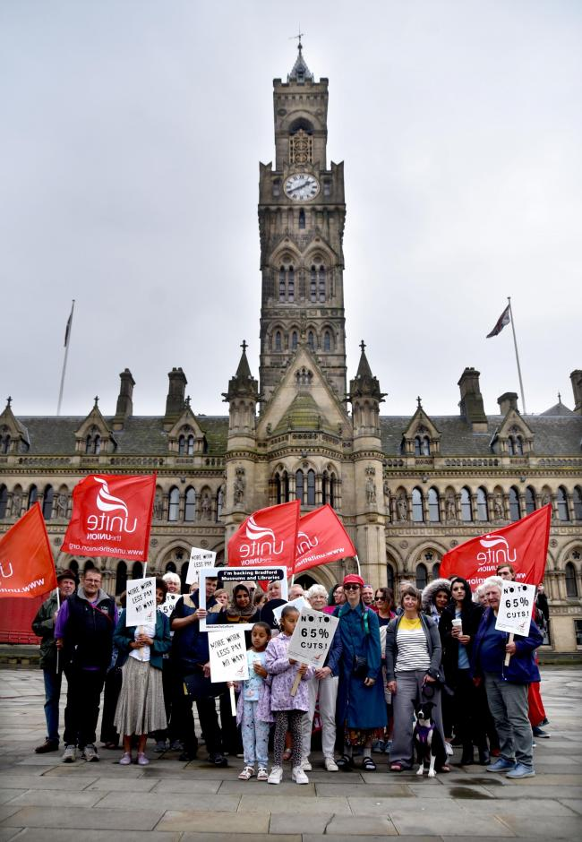 Unite members protested in Bradford over proposed cuts