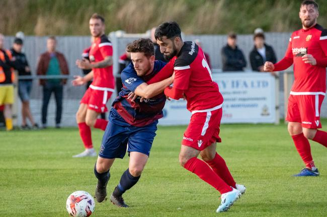 Khurram Shazad, right, will look to add to his goals tally for Silsden this weekend. Picture: David Brett