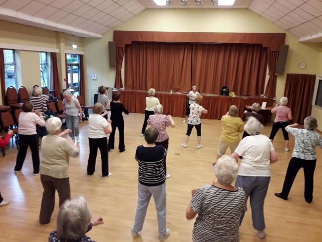 Volunteer Brenda Murch teaching on of her fitness classes at the Clarke Foley Centre in Ilkley