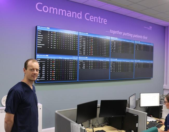 Dr Tom Lawton, Head of Clinical Artificial Intelligence (AI), at the new Command Centre at Bradford Royal Infirmary