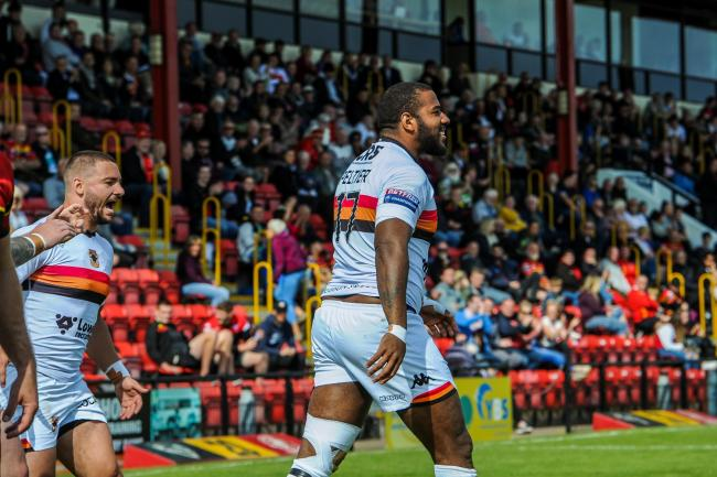 Ross Peltier - pictured celebrating a try in Sunday's win at Dewsbury - says Bulls leaving Bradford is 'heart-breaking'   Picture: Tom Pearson
