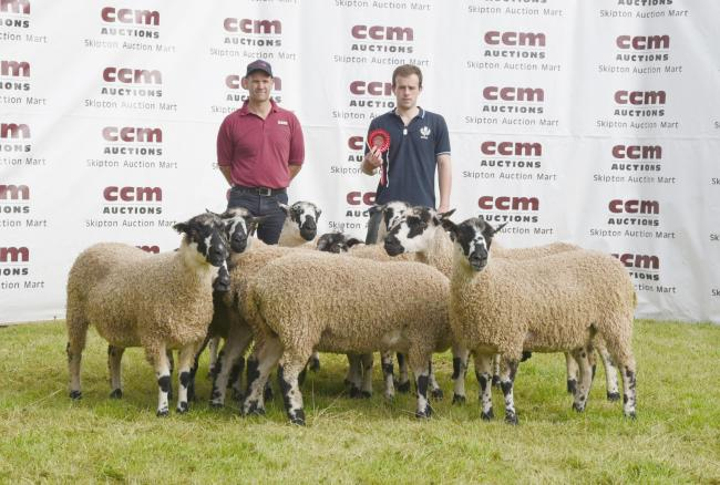 James Hall, right, and judge Andrew Fisher, with his winning shearling gimmers at the Great Annual Prize Show today. Picture: Moule Media