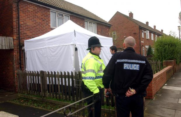 Bradford Telegraph and Argus: Police at the house in Sunderland from where Humble was arrested