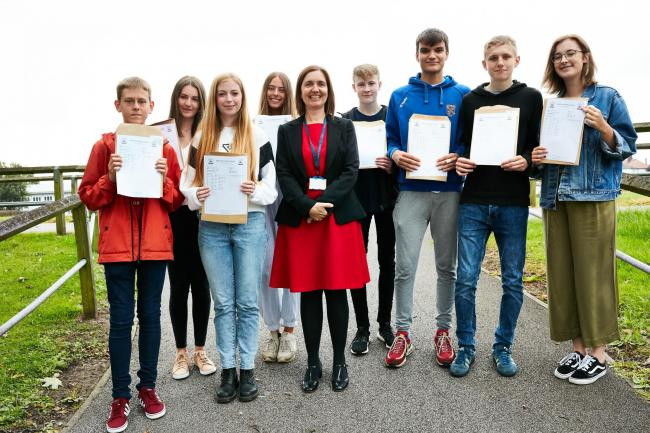 Benton Park Students celebrating exceptional results, pictured with headteacher Delia Martin. Left to right Marcus Wardell, Lauren Duffy, Caitlin Skelton, Charlotte Todd, Cael Meehan, Joe Pilling, Dan Hoos, Charlotte Williams.