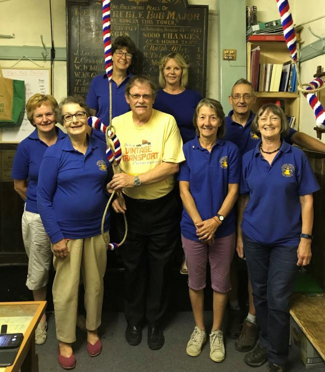 Otley Parish Church Bellringers with Councillor Nigel Francis, who helped them buy new ropes last year