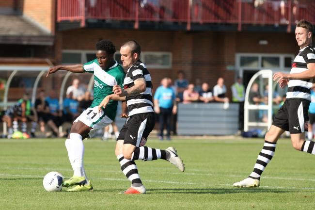Jaheim Headley (left) fires home the winner at Darlington Picture: John Rhodes