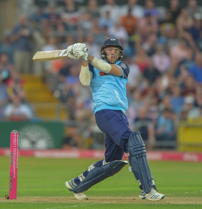 David Willey hits out on his way to 32 in last summer's nine-run Vitality Blast defeat against Lancashire. Picture: Ray Spencer