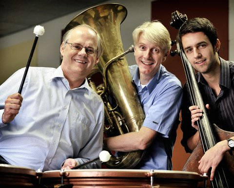 From the left, University of Bradford vice-chancellor Professor Mark Cleary, with musicians Mark Haydn Robinson and Jonathan Brigg in the university's music department