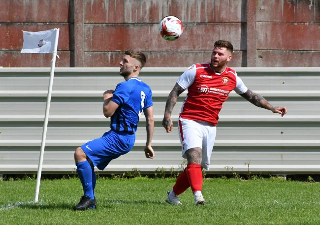 Ben Grech-Brooksbank (right) has scored four times so far for Thackley this season and will be hoping to net another at Hemsworth Miners Welfare to send his side top Picture: Richard Leach.