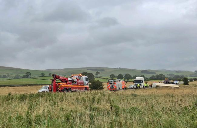 Emergency services at the scene of the tanker incident at Newby this morning. Picture Thomas Beresford