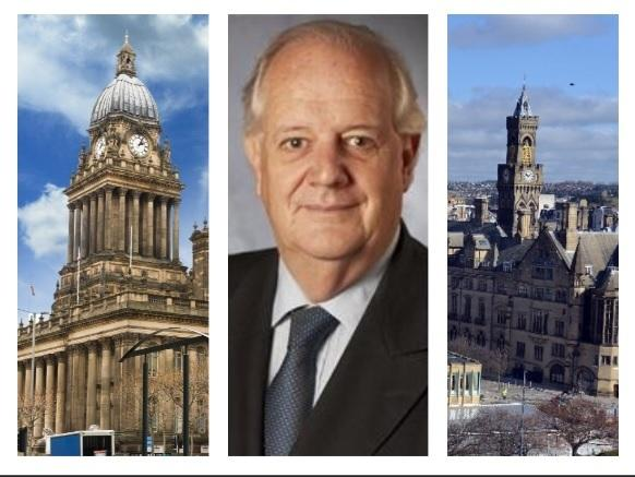 Councillor Andrew Carter says planning decisions taken at Bradford City Hall (right) could impact on Leeds (left)