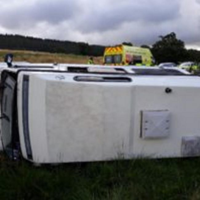 The motorhome on its side after the incident