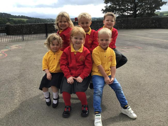 Nursery and reception children at Kirkby Malham School. The new nursery facility opened this term