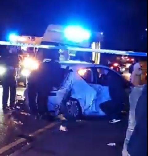 Three people rescued from car wreck after crash near Bradford Royal Infirmary