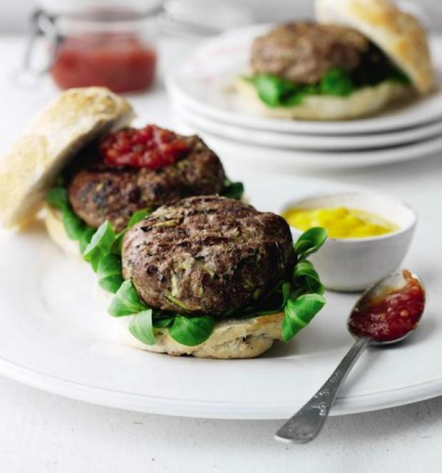 Beefburgers with garlic butter Kiev filling